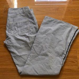 Pinstriped wide leg pants